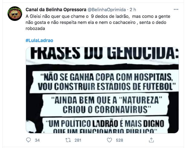 #LulaLadrao ficou entre assuntos mais comentados do Twitter