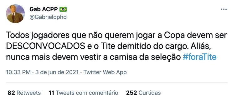 Tite foi alvo de repúdio nas redes sociais após Brasil virar dúvida para a Copa América