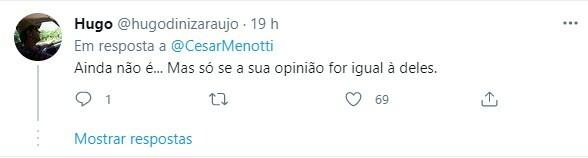 Internautas manifestaram apoio ao cantor Cesar Menotti
