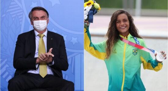 Presidente Jair Bolsonaro e Rayssa Leal