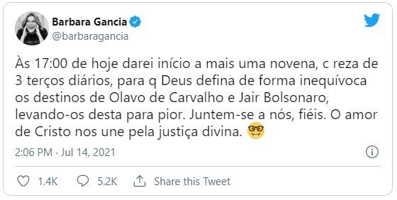 Barbara Gancia foi criticada por Tuíte
