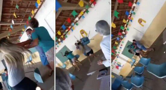 Briga com cadeiradas em fila de vacinação viraliza nas redes