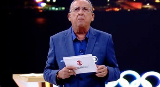 Galvão Bueno durante a transmissão da abertura das Olimpíadas