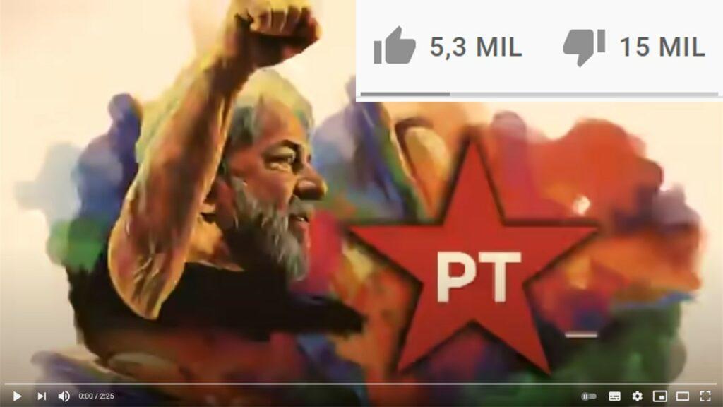 Lula tem chuva de deslikes