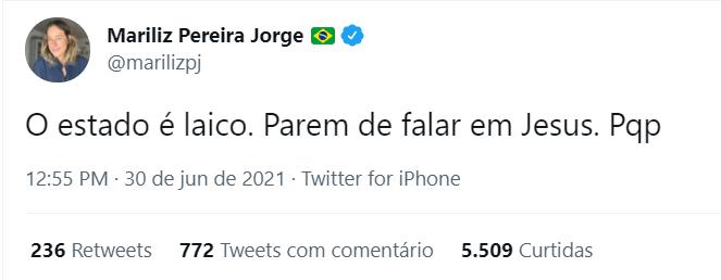 Post de Mariliz Pereira Jorge, jornalista da Folha de S. Paulo