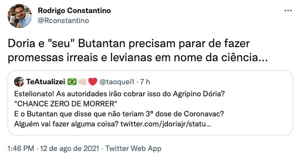 Doria é cobrado por CoronaVac após morte de Tarcísio Meira
