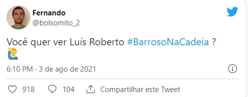 Internautas expressam críticas ao ministro Barroso