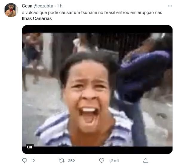 Após erupção de vulcão, web faz piada com tsunami no Brasil