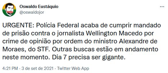 Moraes manda prender Zé Trovão e jornalista pró-Bolsonaro