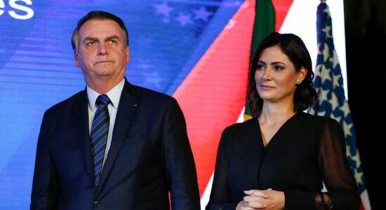Presidente Jair Bolsonaro e a primeira-dama Michelle Bolsonaro
