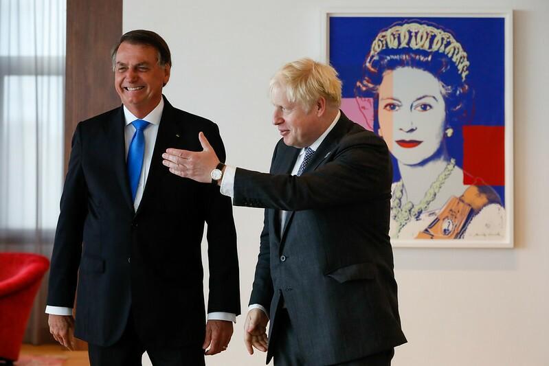 Presidente da República Jair Bolsonaro, durante encontro com o Primeiro Ministro do Reino Unido, Boris Johnson