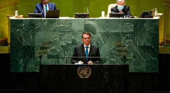 Presidente Jair Bolsonaro durante seu discurso na ONU
