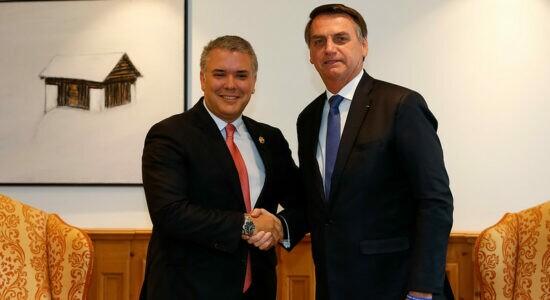 Presidentes Jair Bolsonaro e Iván Duque, da Colômbia