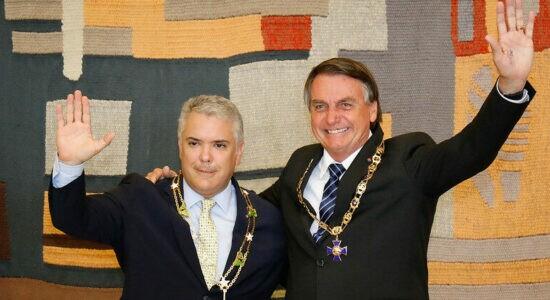 Presidente Jair Bolsonaro e o presidente da Colômbia, Iván Duque